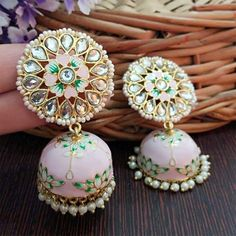 Indian Bridal Jewelry Sets, Indian Jewelry Earrings, Silver Jewellery Indian, Fancy Earrings, Jewelry Design Earrings, Ear Jewelry, Jhumki Earrings, Pakistani Jewelry, Buy Earrings