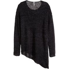 H&M Asymmetric jumper (30 CAD) ❤ liked on Polyvore featuring tops, sweaters, black, h&m, loose sweater, asymmetrical top, long sleeve sweaters and asymmetrical hem top