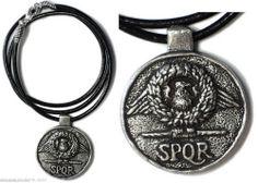 Ancient Roman Soldier Necklace Design with SPQR Eagle Military Standard 7275 #Pendant