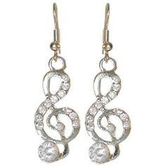 Treble Clef Earrings with Rhinestones In Crystal with Silver Finish
