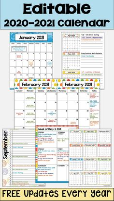 Editable Calendar in Bright Colors with FREE Updates - This 2020 – 2021 Editable Calendar template is printable and is perfect for teachers, students at - Monthly Calendar Template, Planner Template, Printable Planner, Free Printables, Schedule Templates, Editable Calendars, Free Planner, Teacher Planner Free, Teacher Binder Covers