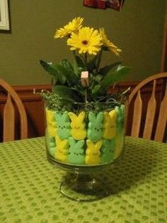 Easter peeps in a pampered chef trifle bowl