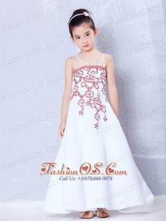 Beautiful White A-line Straps Embroidery Flower Girl Dress Ankle-length Satin  http://www.fashionos.com  http://www.facebook.com/fashionos.us  Are you worried about finding a stunning dress for your daughter's attending a wedding? This one will be your best choice. This lovely flower girl dress features spaghetti straps and a bodice with embroidery throughout. A flattering A-line skirt completes the wonderful silhouette.