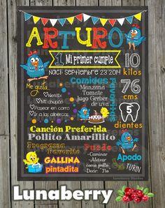 Pizarrón / Pizarra de Cumpleaños Gallina por LunaberryMonterrey