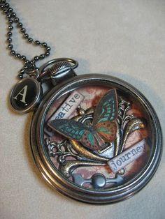 pocket watch-annettescreativejourney.blogspot.com Resin Jewelry, Jewelry Art, Jewelry Crafts, Jewelry Design, Jewelry Accessories, Unique Jewelry, Vintage Jewelry, Old Watches, Pocket Watches