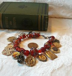 Religious Bracelet Red Lampwork Glass Beads Holy Family