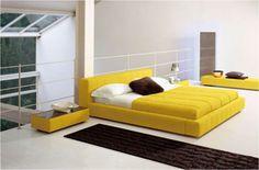 Modern bedroom in a loft setting.