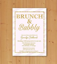 Brunch and Bubbly Bridal Shower Invitation by JMCustomInvites