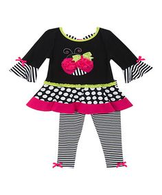 b8be8446924 Rare Editions Black   White Ladybug Tunic   Leggings - Infant