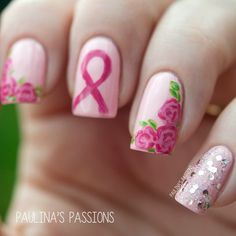 Breast Cancer Awareness Nails - Paulina's Passions <3<3<3A PRETTY DESIGN & GREAT CAUSE (I lost my own Mum 2 1/2 yrs. ago to various Cancers & this was the they last found :( rainbowgems) @