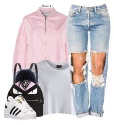 """""""✨"""" by justice-ellis ❤ liked on Polyvore featuring Pieces, Fendi, adidas and hedaj"""