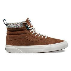 The Sk8-Hi MTE revamps the legendary Vans high top with additions designed for the elements. Premium Scotchgard™-treated leather and textile uppers, warm linings, and a heat retention layer between sockliner and outsole keep feet warm and dry while the newly-constructed vulcanized lug outsole takes advantage of 20 years of snow boot history for maximum traction. The Sk8-Hi MTE also features re-enforced toecaps to withstand repeated wear and padded collars for support and flexibility.