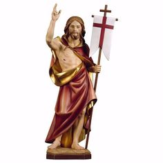 Resurrection of Jesus Christ cm 12 inch) wooden Statue painted with oil colours Val Gardena Jesus Christ Statue, Italian Sculptors, Jesus Resurrection, Wooden Statues, The Cross Of Christ, Caravaggio, Painting On Wood, Art Pieces, Colours