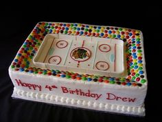 A pretty sweet version of the Madhouse. #Blackhawks cake for Russ? Include his license plate on side
