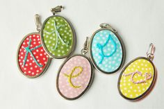 Personalized Embroidered Initial Pendant