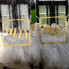 MR & MRS Wedding Chair Sign Set by FAVOURGRAM on Etsy Wedding Chair Signs, Wedding Chairs, Mr And Mrs Wedding, Our Wedding, Buntings, Mr Mrs, Groom, Neon Signs, Bride