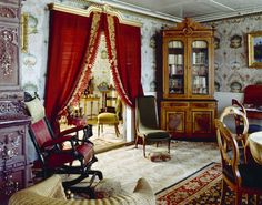 Victorian Interior with Red Curtain for Catchy Look , Bring Home Classic Touch With Victorian Interior