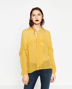 b2ac01691ba Image 2 of FRILLED FLOWING BLOUSE from Zara Flowing Blouse, Fall Fashion  2016, Fashion