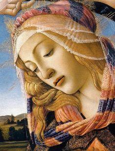 Title: The Madonna of the Magnificat, Detail of the Virgin's Face and Crown, painting by artist Sandro Botticelli (Early Italian Renaissance Master) ,from Iryna Art italian Portrait Renaissance, Die Renaissance, Renaissance Kunst, Renaissance Paintings, Italian Renaissance Art, Renaissance Artists, Madonna, Rennaissance Art, Giorgio Vasari