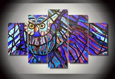 Style Your Home Today With This Amazing 5 Panel Abstract Colorful Owl Framed Wall Canvas For $99.00  Discover more canvas selection here http://www.octotreasures.com  If you want to create a customized canvas by printing your own pictures or photos, please contact us.