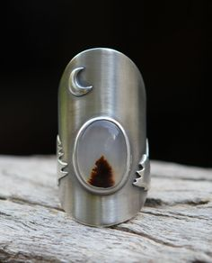 Winter - montana dendritic agate and sterling silver ring. $220.00