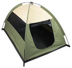Iconic Pet Cozy Camp Pet Tent House, Sage Green with Beige ** Read more at the image link. #CatDoorsPensStep