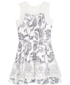 Epic Threads Crochet-Trim Paisley-Print Fit & Flare Dress, Toddler & Little Girls (2T-6X), Only at Macy's - Holiday