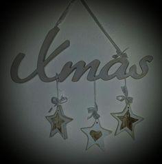 Scritta Xmas da appendere con stelle