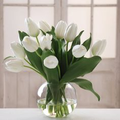 Jane Seymour White Tulip 15H in. Bubble Bowl Silk Flower Arrangement - Silk Flowers at Hayneedle