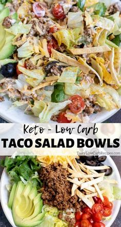Craving Mexican food for dinner? Make this Low Carb Taco Salad Bowl and enjoy Taco Tuesday while sticking to your Keto Diet. Low Carb Tacos, Low Carb Taco Salad, Taco Salad Bowls, Taco Salad Doritos, Taco Food, Healthy Low Carb Recipes, Low Carb Dinner Recipes, Diet Recipes, Low Carb Food