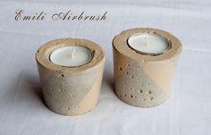 Teelichthalter - Beton Teelichthalter 2er Set- Creme - ein Designerstück von Emili-Kunst-Airbrush bei DaWanda