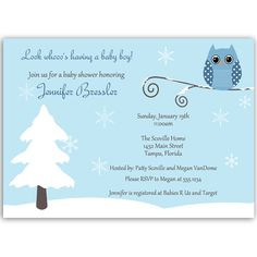 Winter is a Hoot Pink Baby Shower Invitation - Invite guests to your girl baby shower with this winter themed invitation featuring a pink owl on a branch. Baby Shower Purple, Purple Baby, Baby Shower Winter, Gender Neutral Baby Shower, Purple Owl, Baby Shower Invitations For Boys, Baby Shower Games, Baby Boy Shower, Invite