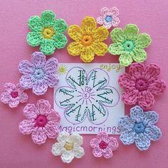 How to Crochet a Puff Flower Crochet Motif Patterns, Crochet Diagram, Crochet Chart, Love Crochet, Diy Crochet, Crochet Stitches, Crochet Bags, Crochet Animals, Crochet Flower Tutorial