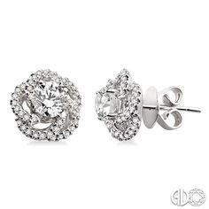 Unique Setting Diamond Stud Earrings In 14k White Gold Earring Jackets