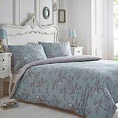 Debenhams - Blue and grey print 'Curious Bird' bedding set