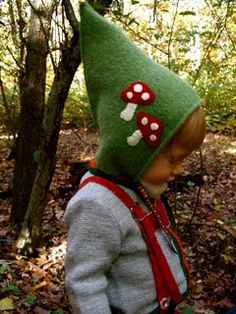 How to Make a Gnome Hat for a Young Child...I guess if my young child has a beard as this one appears to, YES, they should have a gnome hat! Off to find a sweater to recycle!