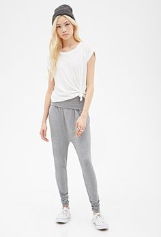 Foldover Heathered Harem Pants | Forever 21 - 2000118664