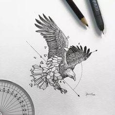 Geometric Tattoo Design, Geometric Drawing, Geometric Art, Geometric Tattoo Eagle, Geometric Animal, Animal Sketches, Animal Drawings, Art Sketches, Ave Tattoo