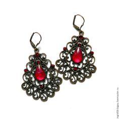 Купить Серьги с росписью Лейла, малиновый в меди, крупные - бордовый, украшения с эпоксидкой, украшения с росписью