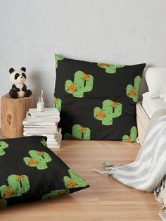 """""""Cactus with flowers"""" Floor Pillow by Buy Cactus, Cactus Flower, Cactus Plants, Floor Pillows, Throw Pillows, Toddler Bed, Flooring, Flowers, Furniture"""
