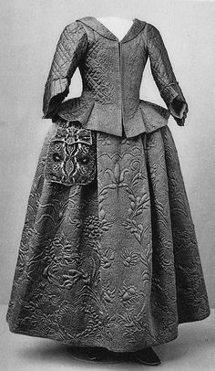 """""""Jacket, petticoat, and pocket, early 18th century.  From the Nordiska Museet"""""""