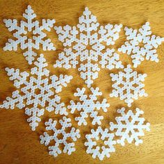 perler beads - Winter snowflakes hama beads by myafr Christmas Perler Beads, Diy Christmas Ornaments, Pearler Bead Patterns, Pearler Beads, Perler Patterns, Quilt Patterns, Pixel Art Noel, Hama Beads Design, Iron Beads