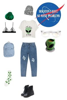 """""""alien"""" by plastic-heart on Polyvore featuring мода, BigMouth, American Apparel, Dr. Martens, Chicnova Fashion, Fleur of England, Topshop и Wildfox"""