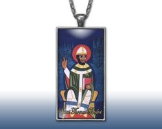 Saint Thomas Becket Pendant Charm Necklace Custom Silver Plated Jewelry Christian Religious
