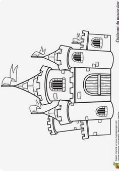 Drawing For Kids, Art For Kids, Colouring Pages, Coloring Books, Chateau Moyen Age, Castle Crafts, Castle Drawing, Medieval Party, Jack And The Beanstalk