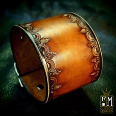 Leather cuff Bracelet Vintage style Brown stamped by mataradesign