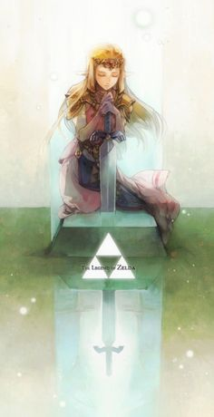 Princess Zelda over the Master Sword - The Legend of Zelda: Ocarina of Time; fan art