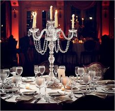 Crystals + Candles = Glamorous Romance, such a beautiful table design, simple & classic.