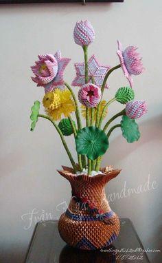 3d origami lotus vase