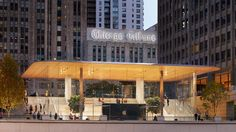 Macbook-shaped roof tops Foster + Partners' Apple Store in Chicago